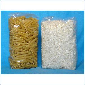 Bolsa polipropileno fondo cuadrado con macarrones y arroz